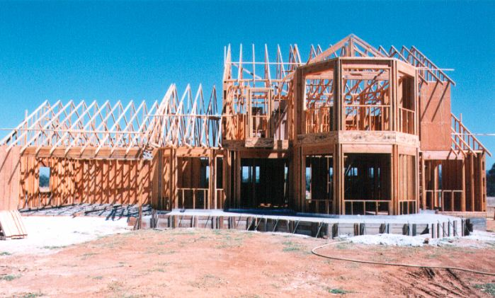 An Endeavor package - pre framed walls and roof trusses in place and ready for roof sheathing